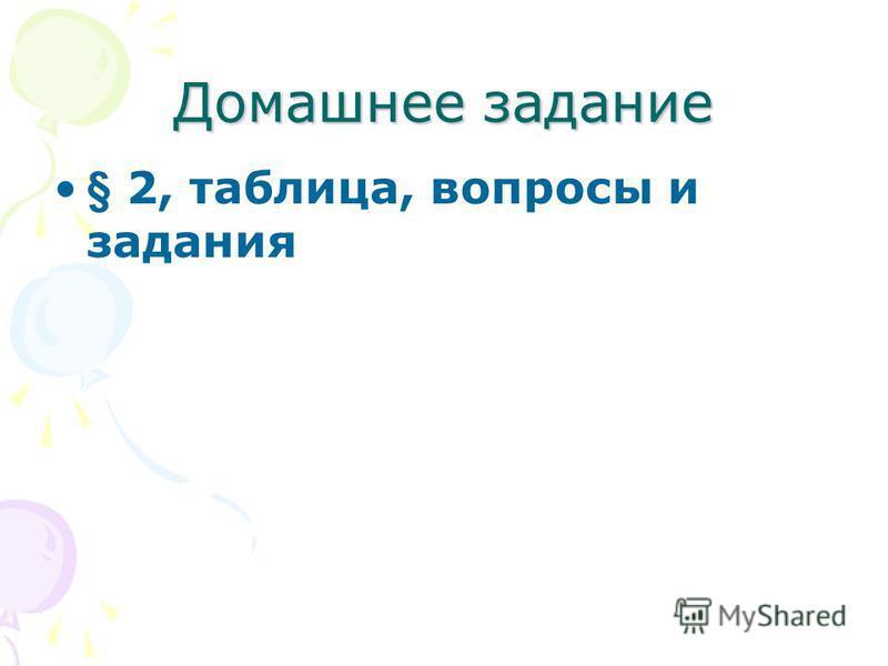 Домашнее задание § 2, таблица, вопросы и задания