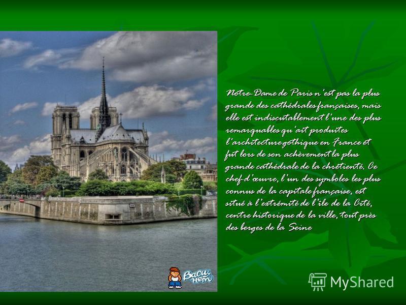 Notre-Dame de Paris n'est pas la plus grande des cathédrales françaises, mais elle est indiscutablement l'une des plus remarquables qu'ait produites l'architecture gothique en France et fut lors de son achèvement la plus grande cathédrale de la chrét