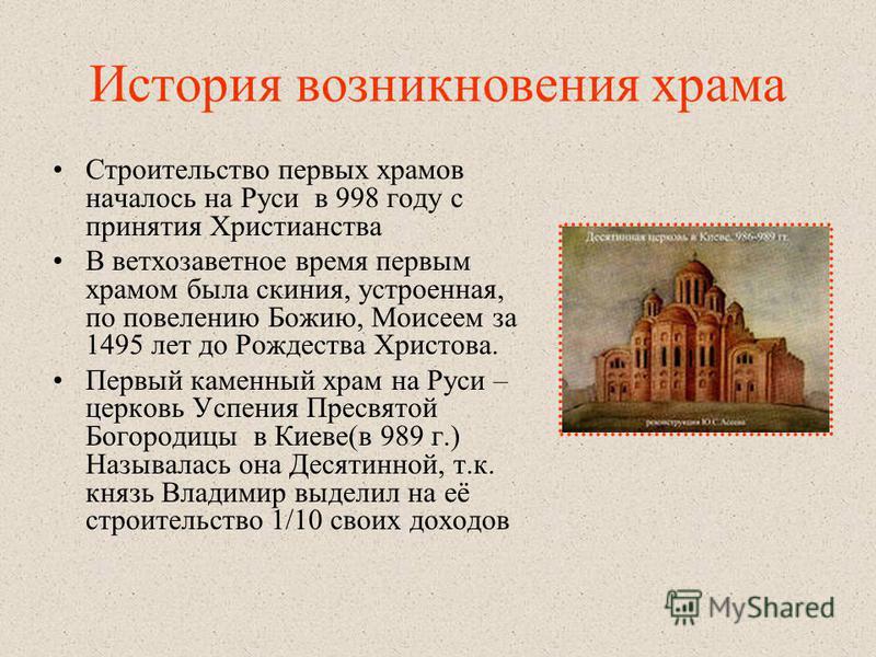 История возникновения храма Строительство первых храмов началось на Руси в 998 году с принятия Христианства В ветхозаветное время первым храмом была скиния, устроенная, по повелению Божию, Моисеем за 1495 лет до Рождества Христова. Первый каменный хр