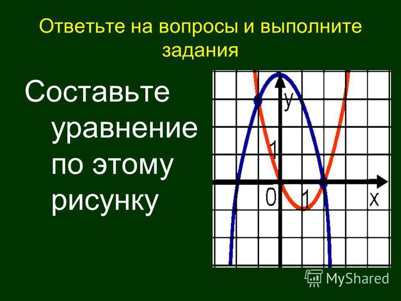 Ответьте на вопросы и выполните задания Составьте уравнение по этому рисунку