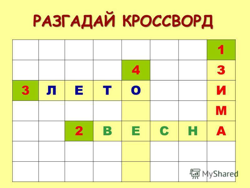 РАЗГАДАЙ КРОССВОРД 1 4З 3ЛЕТОИ М 2ВЕСНА