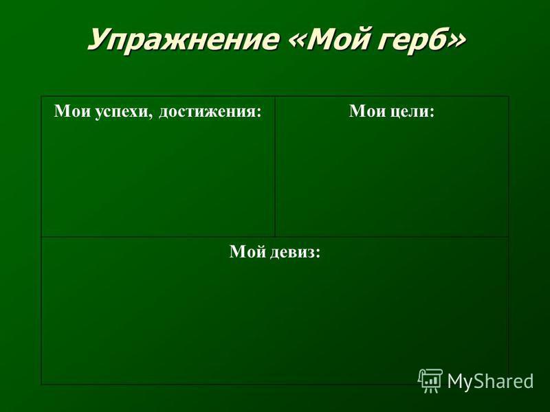 Упражнение «Мой герб» Мои успехи, достижения:Мои цели: Мой девиз: