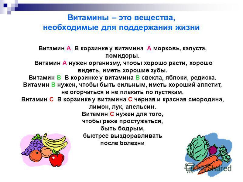 Витамины – это вещества, необходимые для поддержания жизни Витамин А В корзинке у витамина А морковь, капуста, помидоры. Витамин А нужен организму, чтобы хорошо расти, хорошо видеть, иметь хорошие зубы. Витамин В В корзинке у витамина В свекла, яблок