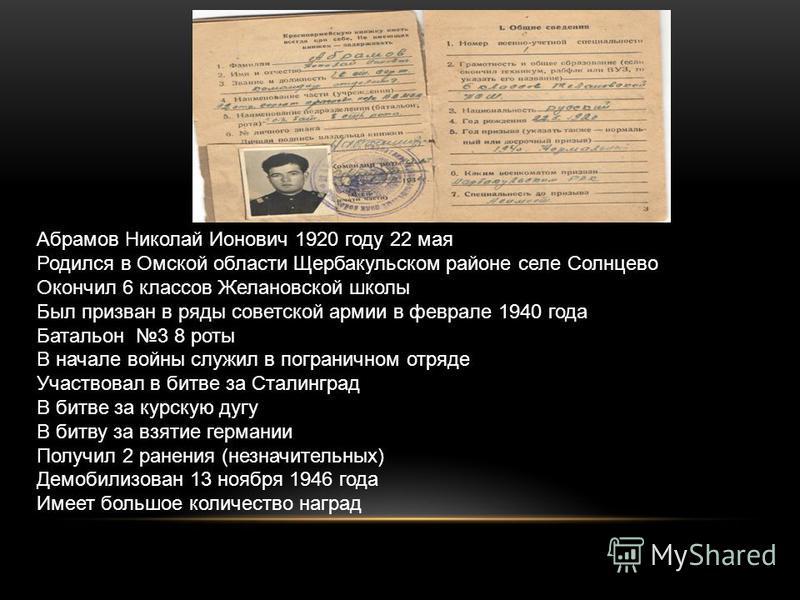 Абрамов Николай Ионович 1920 году 22 мая Родился в Омской области Щербакульском районе селе Солнцево Окончил 6 классов Желановской школы Был призван в ряды советской армии в феврале 1940 года Батальон 3 8 роты В начале войны служил в пограничном отря