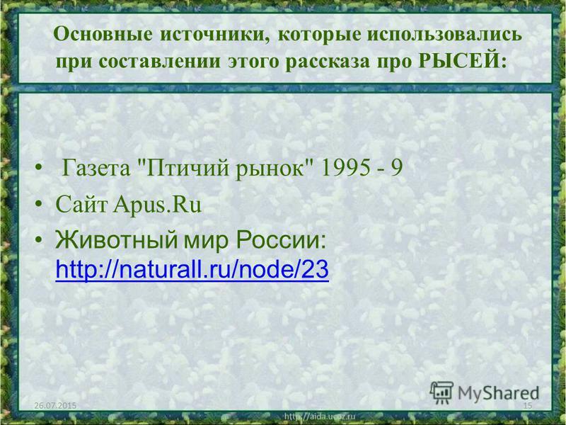 Основные источники, которые использовались при составлении этого рассказа про РЫСЕЙ: Газета Птичий рынок 1995 - 9 Сайт Apus.Ru Животный мир России: http://naturall.ru/node/23 http://naturall.ru/node/23 26.07.201515