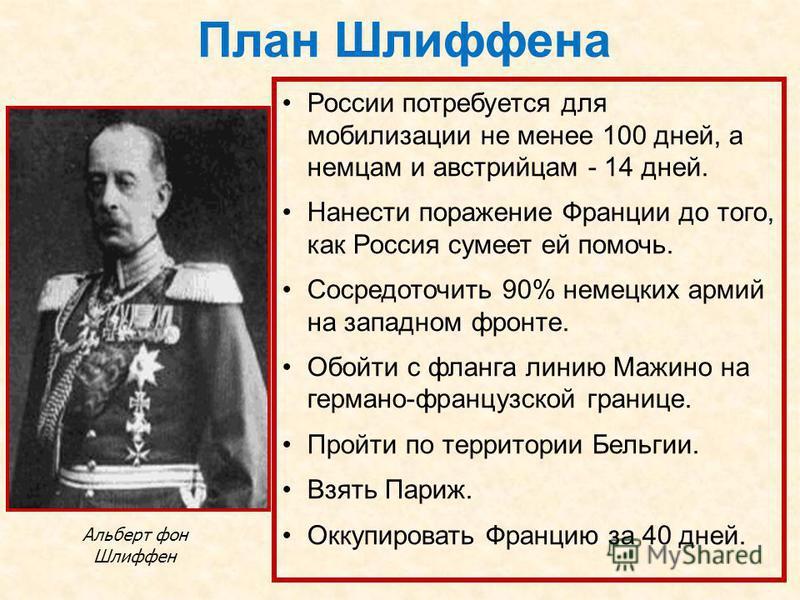 План Шлиффена Альберт фон Шлиффен России потребуется для мобилизации не менее 100 дней, а немцам и австрийцам - 14 дней. Нанести поражение Франции до того, как Россия сумеет ей помочь. Сосредоточить 90% немецких армий на западном фронте. Обойти с фла