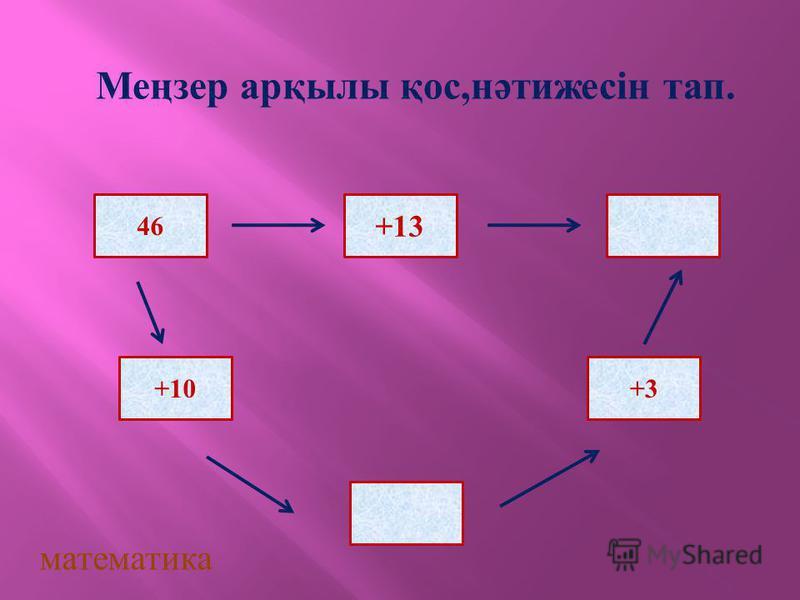 46 +13 +10+3 математика Меңзер арқылы қос,нәтижесін тап.