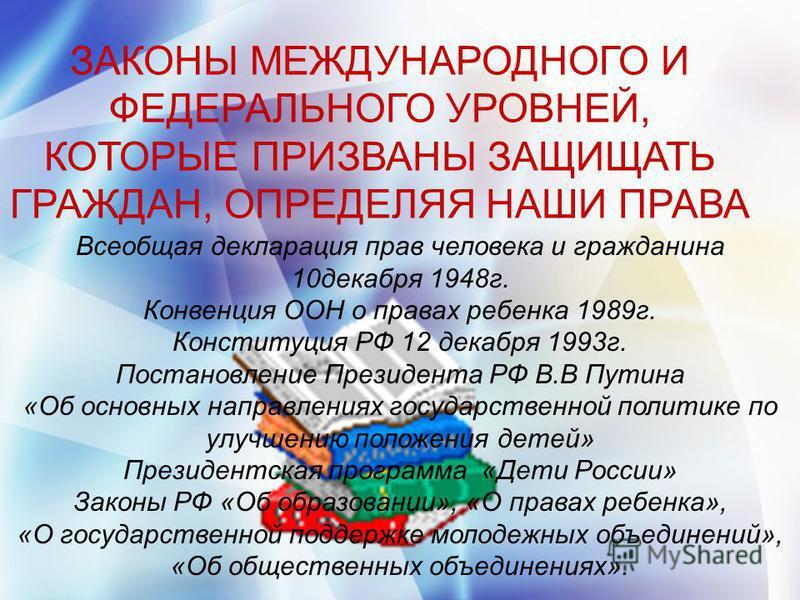 ЗАКОНЫ МЕЖДУНАРОДНОГО И ФЕДЕРАЛЬНОГО УРОВНЕЙ, КОТОРЫЕ ПРИЗВАНЫ ЗАЩИЩАТЬ ГРАЖДАН, ОПРЕДЕЛЯЯ НАШИ ПРАВА Всеобщая декларация прав человека и гражданина 10 декабря 1948 г. Конвенция ООН о правах ребенка 1989 г. Конституция РФ 12 декабря 1993 г. Постановл