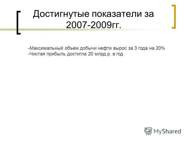 Достигнутые показатели за 2007-2009 гг. -Максимальный объем добычи нефти вырос за 3 года на 20% -Чистая прибыль достигла 20 млрд.р. в год