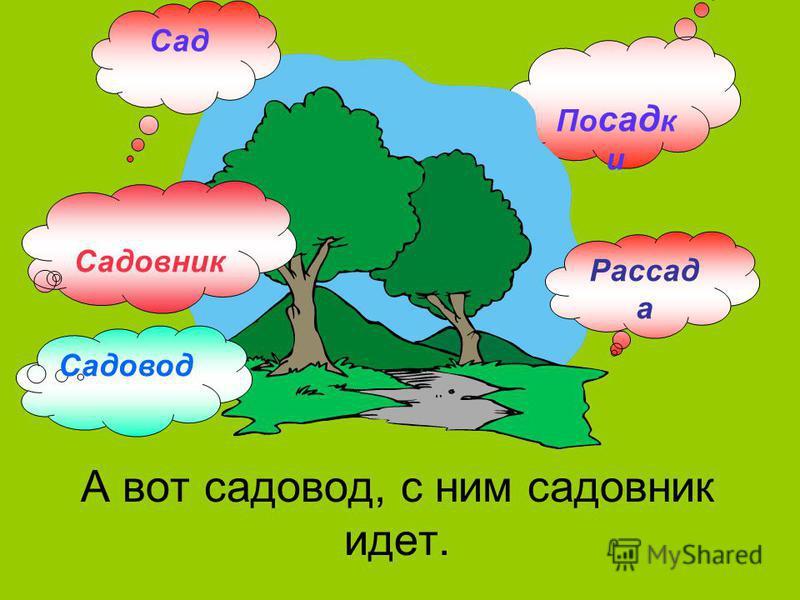 По сад к и А вот садовод, с ним садовник идет. Сад Рассад а Садовник Садовод