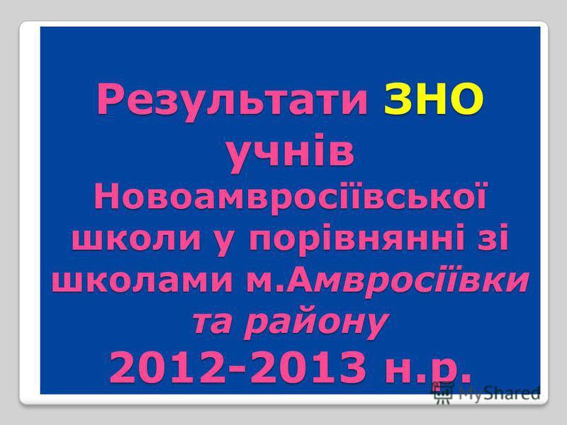 Результати ЗНО учнів Новоамвросіївської школи у порівнянні зі школами м.Амвросіївки та району 2012-2013 н.р.