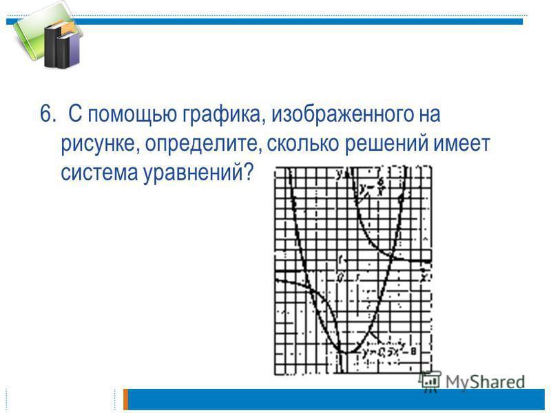 6. С помощью графика, изображенного на рисунке, определите, сколько решений имеет система уравнений?