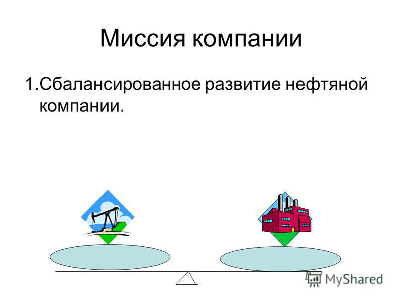 Миссия компании 1. Сбалансированное развитие нефтяной компании.