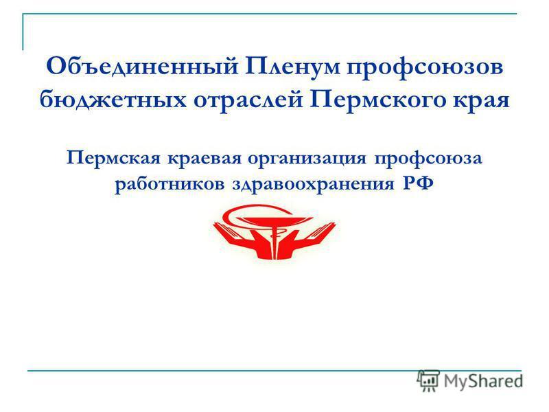 Объединенный Пленум профсоюзов бюджетных отраслей Пермского края Пермская краевая организация профсоюза работников здравоохранения РФ