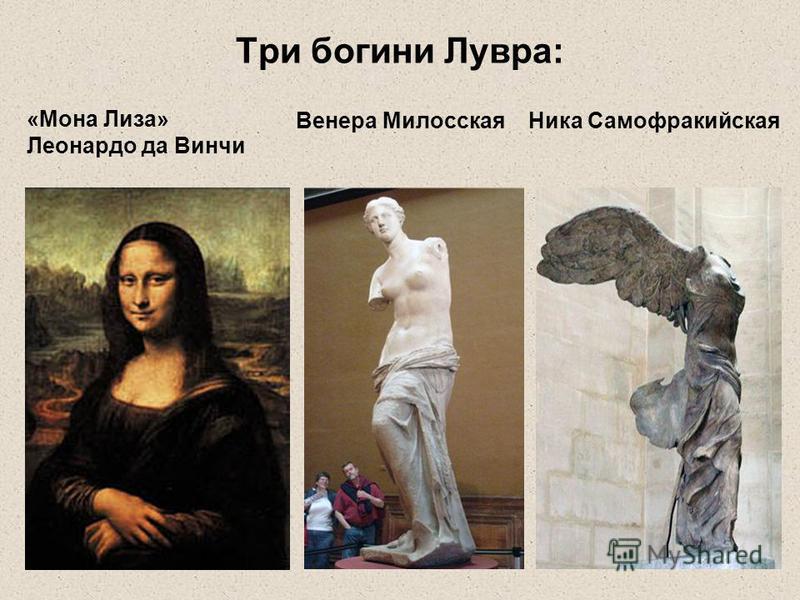 Три богини Лувра: Венера Милосская Ника Самофракийская «Мона Лиза» Леонардо да Винчи