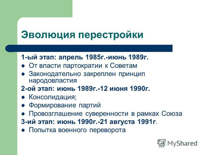 Эволюция перестройки 1-ый этап: апрель 1985 г.-июнь 1989 г. От власти партократии к Советам Законодательно закреплен принцип народовластия 2-ой этап: июнь 1989 г.-12 июня 1990 г. Консолидация; Формирование партий Провозглашение суверенности в рамках