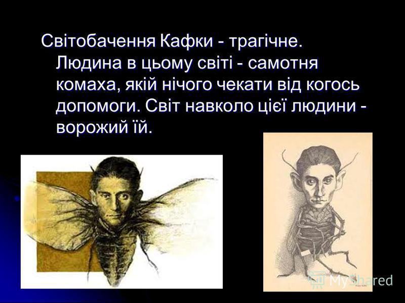 Світобачення Кафки - трагічне. Людина в цьому світі - самотня комаха, якій нічого чекати від когось допомоги. Світ навколо цієї людини - ворожий їй.