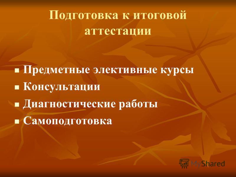 Подготовка к итоговой аттестации Предметные элективные курсы Консультации Диагностические работы Самоподготовка