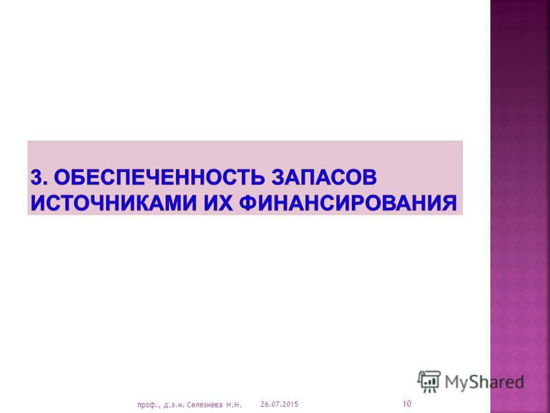 26.07.2015 10 проф., д.э.н. Селезнева Н.Н.