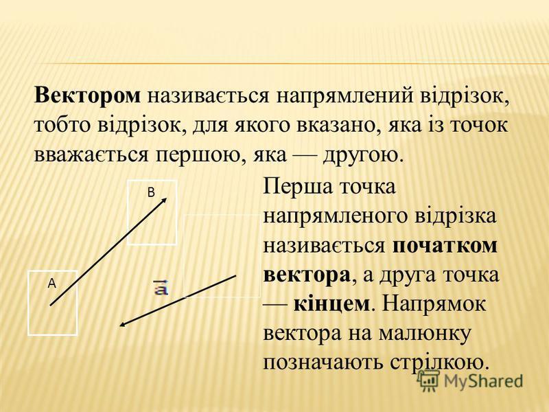 Вектором називається напрямлений відрізок, тобто відрізок, для якого вказано, яка із точок вважається першою, яка другою. В А Перша точка напрямленого відрізка називається початком вектора, а друга точка кінцем. Напрямок вектора на малюнку позначають