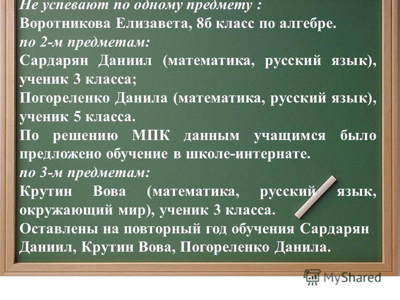 Не успевают по одному предмету : Воротникова Елизавета, 8 б класс по алгебре. по 2-м предметам: Сардарян Даниил (математика, русский язык), ученик 3 класса; Погореленко Данила (математика, русский язык), ученик 5 класса. По решению МПК данным учащимс