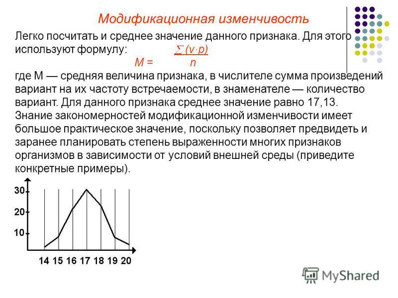 Модификационная изменчивость Легко посчитать и среднее значение данного признака. Для этого используют формулу: (v ּp) М = n где М средняя величина признака, в числителе сумма произведений вариант на их частоту встречаемости, в знаменателе количество