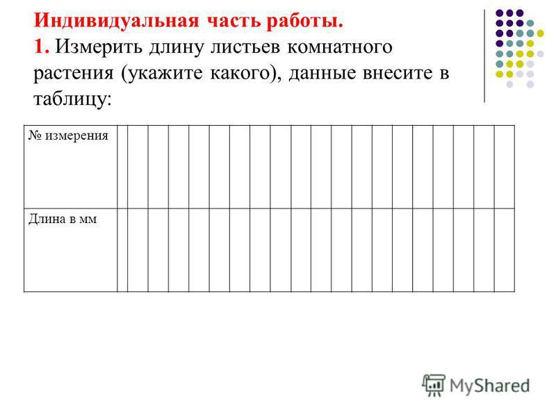 Индивидуальная часть работы. 1. Измерить длину листьев комнатного растения (укажите какого), данные внесите в таблицу: измерения Длина в мм