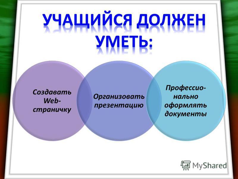 Создавать Web- страничку Организовать презентацию Профессио- нально оформлять документы