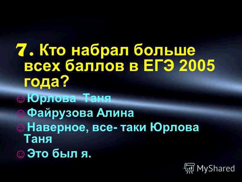 7. Кто набрал больше всех баллов в ЕГЭ 2005 года? Юрлова Таня Файрузова Алина Наверное, все- ткаки Юрлова Таня Это был я.