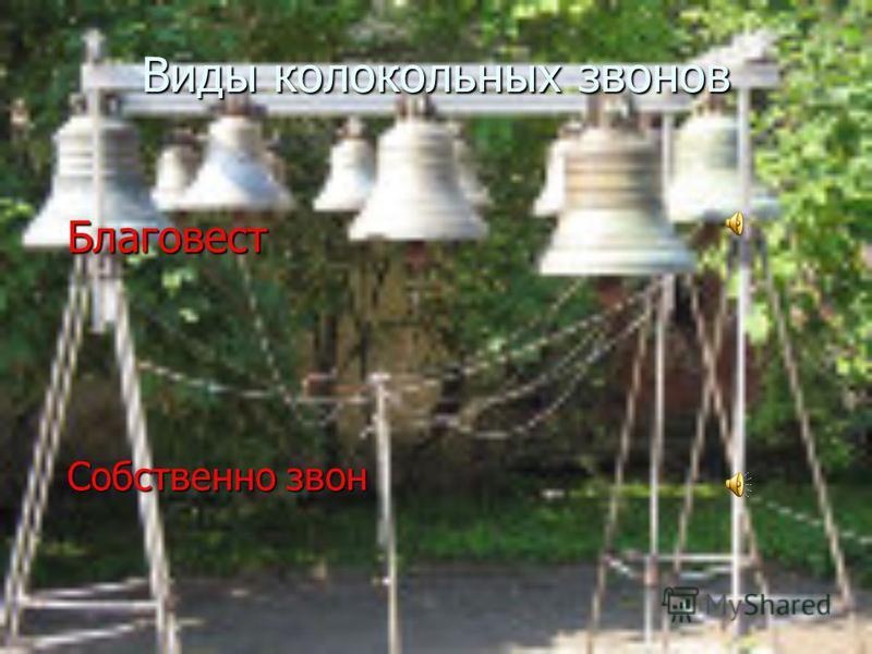 Виды колокольных звонов Благовест Собственно звон