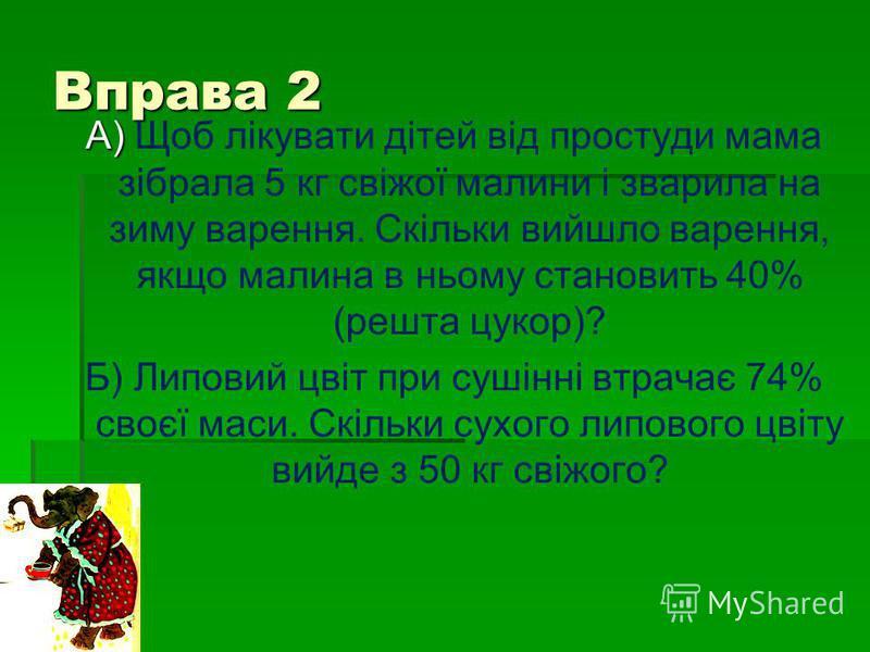 Вправа 2 А) А) Щоб лікувати дітей від простуди мама зібрала 5 кг свіжої малини і зварила на зиму варення. Скільки вийшло варення, якщо малина в ньому становить 40% (решта цукор)? Б) Липовий цвіт при сушінні втрачає 74% своєї маси. Скільки сухого липо