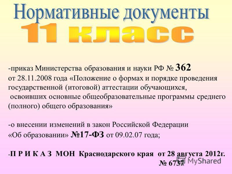 Нормативные документы -приказ Министерства образования и науки РФ 362 от 28.11.2008 года «Положение о формах и порядке проведения государственной (итоговой) аттестации обучающихся, освоивших основные общеобразовательные программы среднего (полного) о