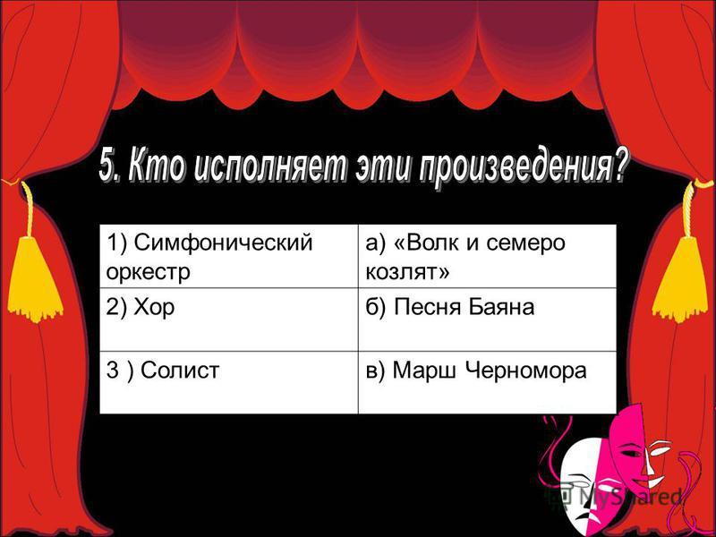 1) Симфонический оркестр а) «Волк и семеро козлят» 2) Хорб) Песня Баяна 3 ) Солиств) Марш Черномора
