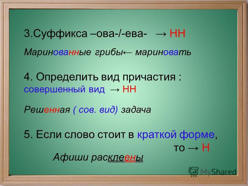 3. Суффикса –ова-/-ева- НН Маринованные грибы мариновать 4. Определить вид причастия : совершенный вид НН Решенная ( сов. вид) задача 5. Если слово стоит в краткой форме, то Н Афиши расклеены