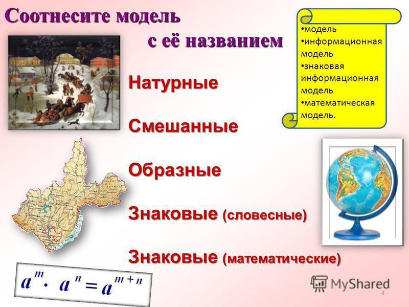 Натурные СмешанныеОбразные Знаковые (словесные) Знаковые (математические) Соотнесите модель с её названием с её названием 4 модель информационная модель знаковая информационная модель математическая модель.