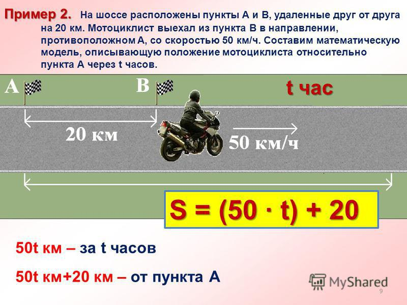 Пример 2. Пример 2. На шоссе расположены пункты А и В, удаленные друг от друга на 20 км. Мотоциклист выехал из пункта В в направлении, противоположном А, со скоростью 50 км/ч. Составим математическую модель, описывающую положение мотоциклиста относит