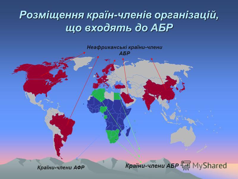 Розміщення країн-членів організацій, що входять до АБР Країни-члени АБР Країни-члени АФР Неафриканські країни-члени АБР