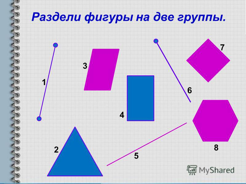 Раздели фигуры на две группы. 1 6 5 4 3 2 8 7