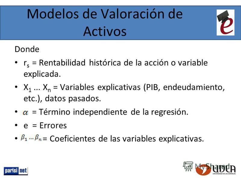 Modelos de Valoración de Activos Donde r s = Rentabilidad histórica de la acción o variable explicada. X 1... X n = Variables explicativas (PIB, endeudamiento, etc.), datos pasados. = Término independiente de la regresión. e = Errores = Coeficientes
