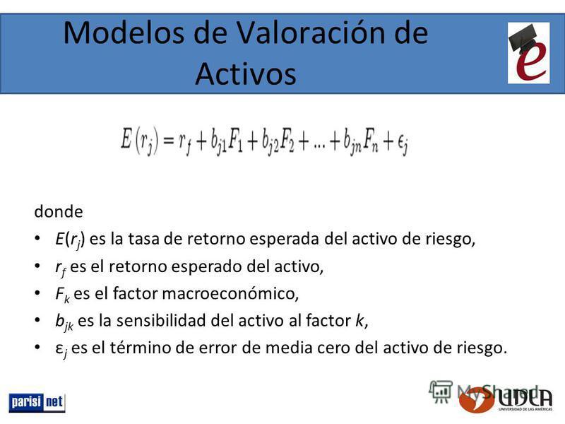 Modelos de Valoración de Activos donde E(r j ) es la tasa de retorno esperada del activo de riesgo, r f es el retorno esperado del activo, F k es el factor macroeconómico, b jk es la sensibilidad del activo al factor k, ε j es el término de error de