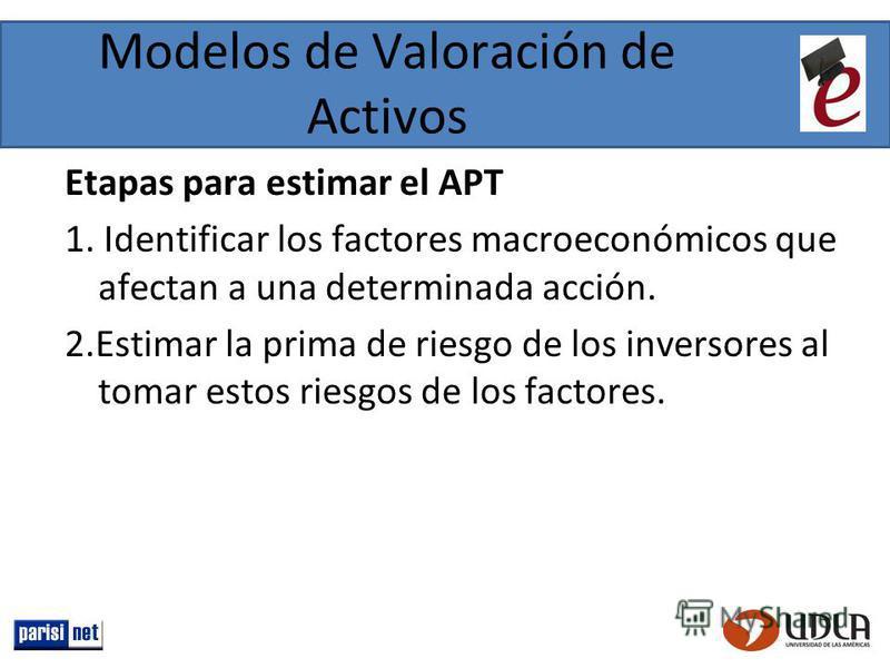 Modelos de Valoración de Activos Etapas para estimar el APT 1. Identificar los factores macroeconómicos que afectan a una determinada acción. 2.Estimar la prima de riesgo de los inversores al tomar estos riesgos de los factores.