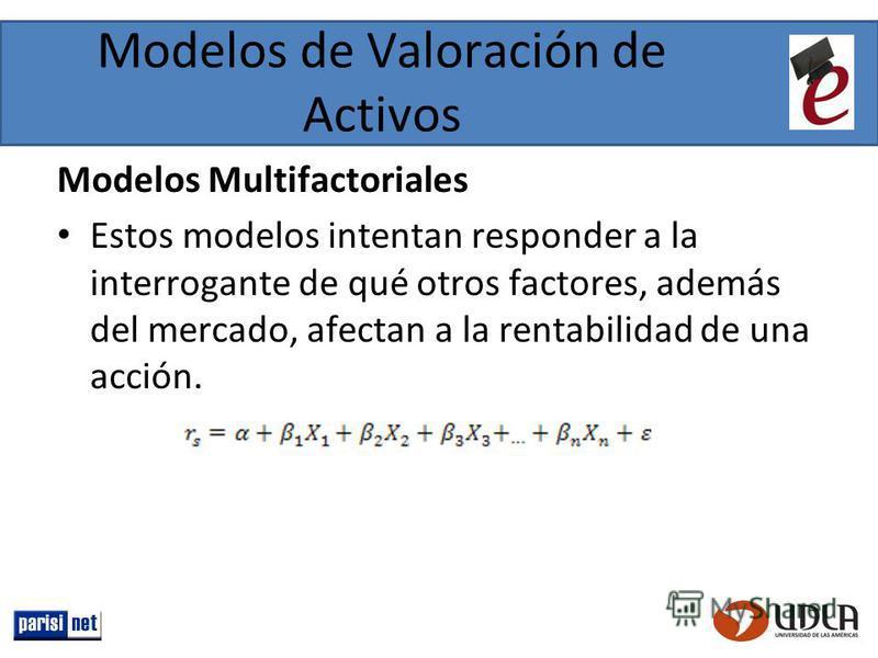 Modelos de Valoración de Activos Modelos Multifactoriales Estos modelos intentan responder a la interrogante de qué otros factores, además del mercado, afectan a la rentabilidad de una acción.