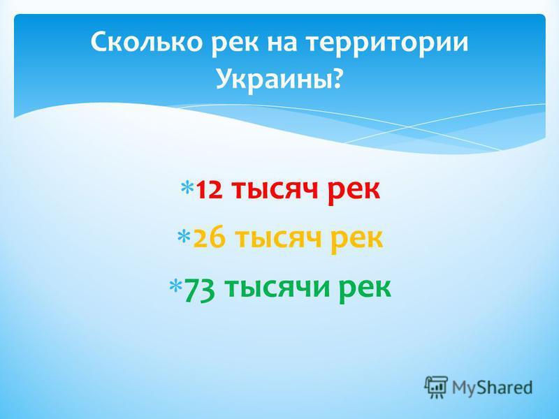 12 тысяч рек 26 тысяч рек 73 тысячи рек Сколько рек на территории Украины?