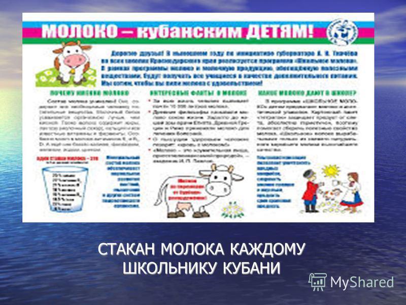 СТАКАН МОЛОКА КАЖДОМУ ШКОЛЬНИКУ КУБАНИ