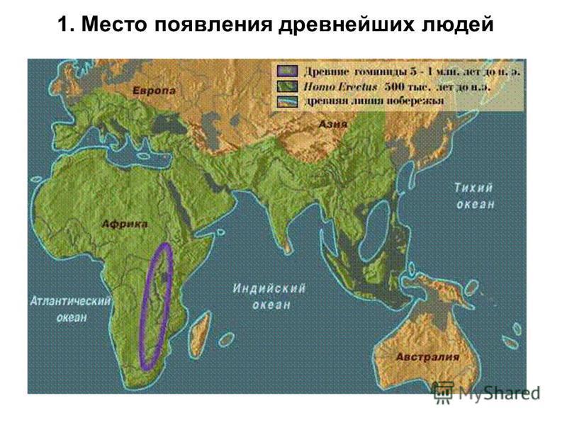 1. Место появления древнейших людей