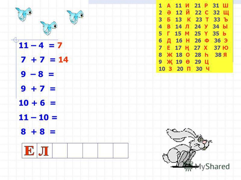 1 А 11 И 21 Р 31 Ш 2 Ә 12 Й 22 С 32 Щ 3 Б 13 К 23 Т 33 Ъ 4 В 14 Л 24 У 34 Ы 5 Г 15 М 25 Ү 35 Ь 6 Д 16 Н 26 Ф 36 Э 7 Е 17 Ң 27 Х 37 Ю 8 Ж 18 О 28 Һ 38 Я 9 Җ 19 Ө 29 Ц 10 З 20 П 30 Ч 11 – 4 = 7 7 + 7 = 9 – 8 = 9 + 7 = 10 + 6 = 11 – 10 = 8 + 8 =