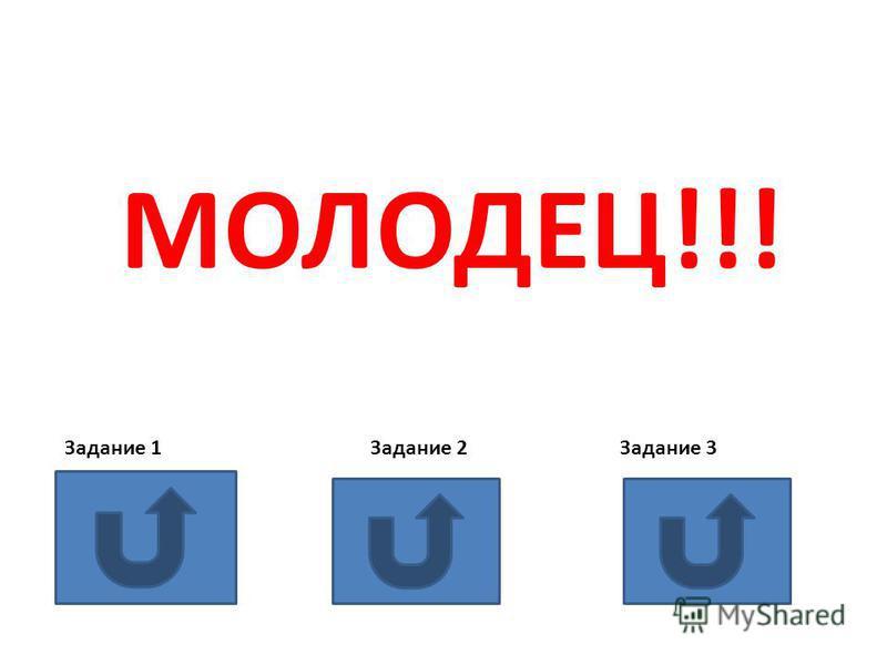 МОЛОДЕЦ!!! Задание 1 Задание 2 Задание 3