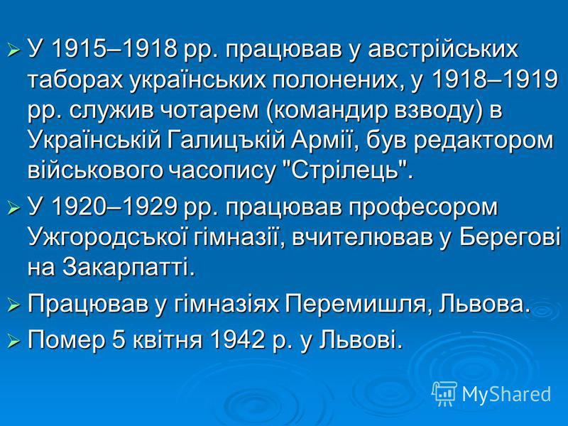 У 1915–1918 pp. працював у австрійських таборах українських полонених, у 1918–1919 pp. служив чотарем (командир взводу) в Українській Галицъкій Армії, був редактором військового часопису