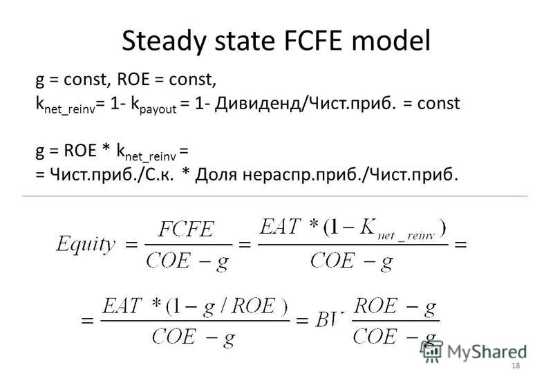 18 Steady state FCFE model 18 g = const, ROE = const, k net_reinv = 1- k payout = 1- Дивиденд/Чист.приб. = const g = ROE * k net_reinv = = Чист.приб./С.к. * Доля нераспр.приб./Чист.приб.
