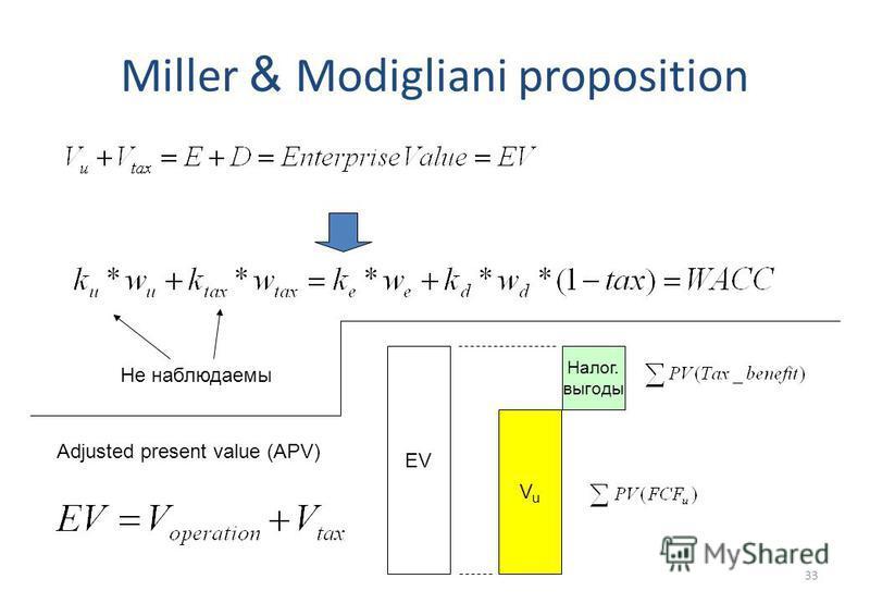 33 Miller & Modigliani proposition Не наблюдаемы Adjusted present value (APV) EV VuVu Налог. выгоды